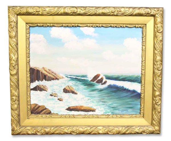 Signed Framed Oil Ocean Painting