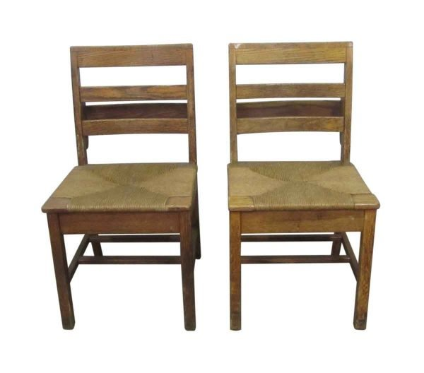 Antique School Chairs with Woven Seats