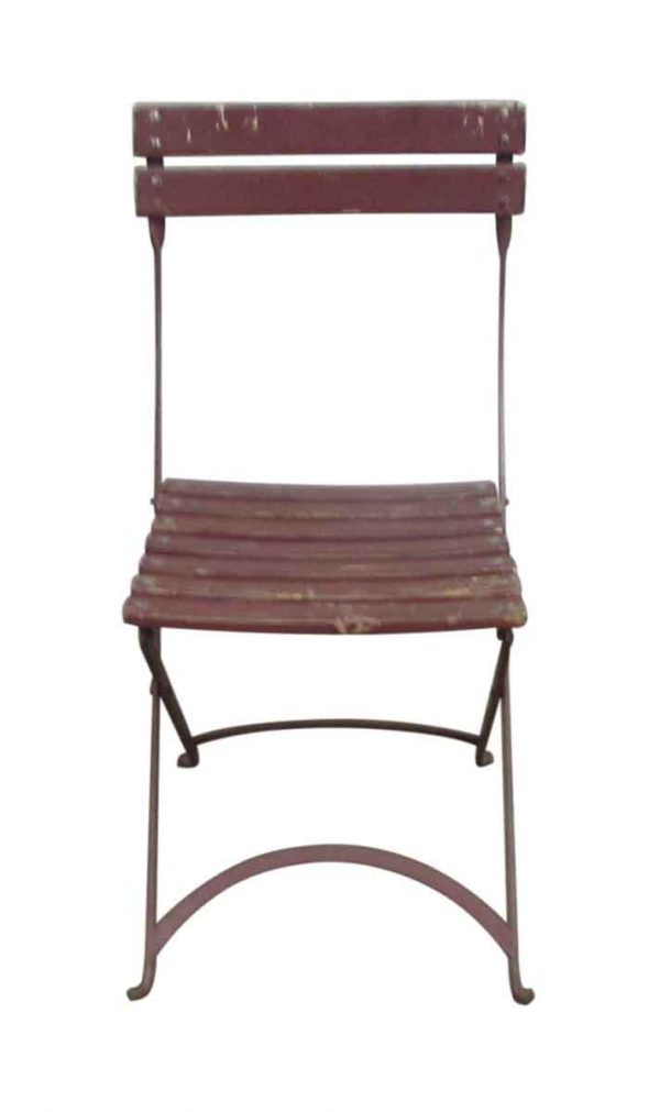 Antique Wooden Slatted Back Folding Chairs