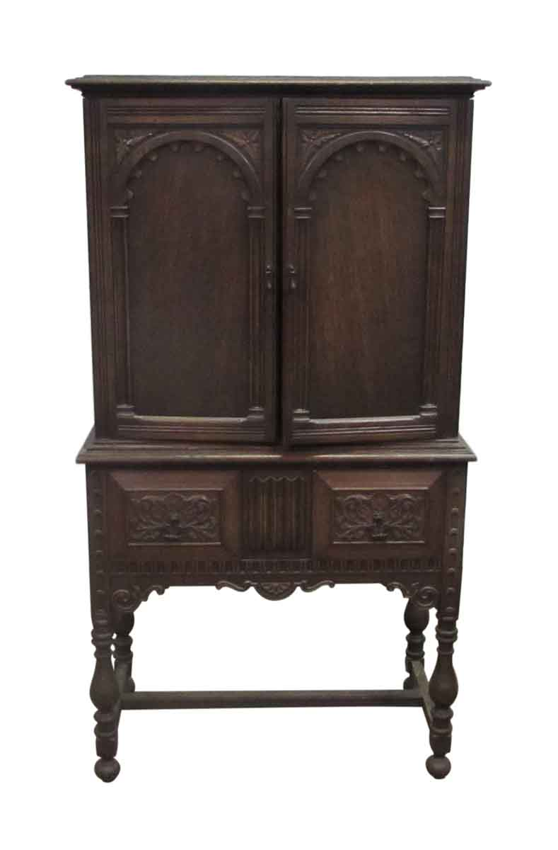 Oak hutch heavily carved cabinet olde good things
