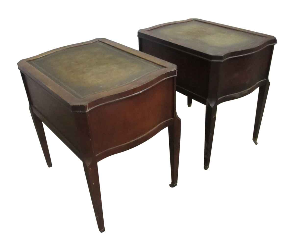 Leather top side table with drawers olde good things - Antique side tables for living room ...