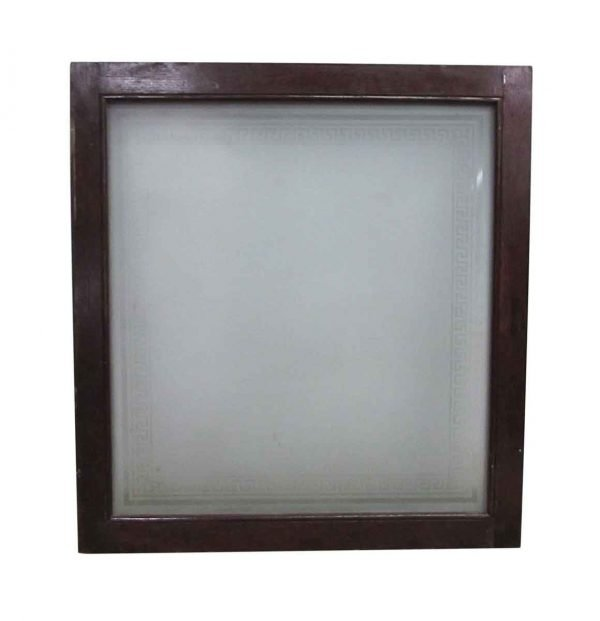 Reclaimed Frosted Glass Greek Key Square Window