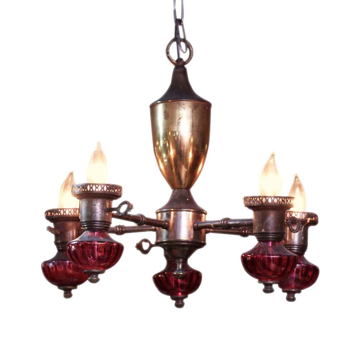 Brass Five Light Chandelier with Red Glass Detail Olde Good Things