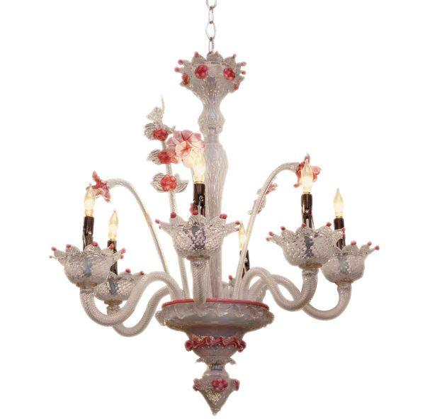 Pink Murano Hand Blown Glass Floral Chandelier