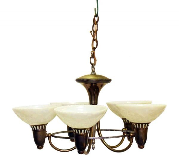 Olde Five Arm Deco Chandelier with Floral Glass Shades
