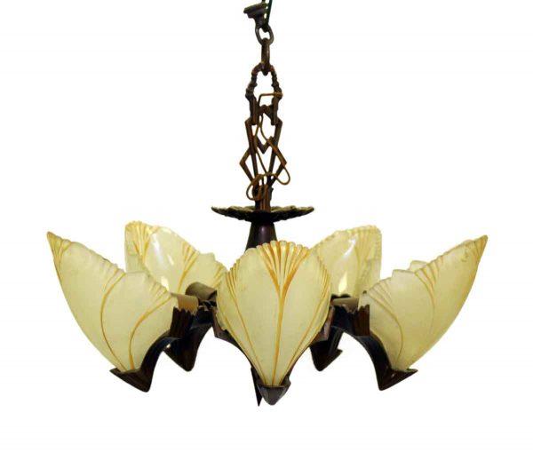 Bronze Five Light Deco Slip Shade Chandelier