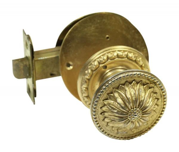 Floral Gilded Brass Knob with Rosette & Lock