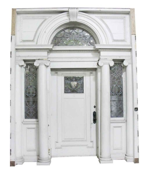 Early 20th Century Federal Mansion Leaded Glass Door Entry - Antique Entry Doors Olde Good Things