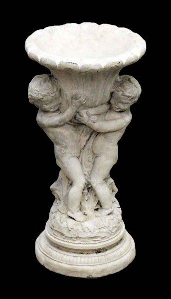 Cast Stone Urn with Cherub Figures