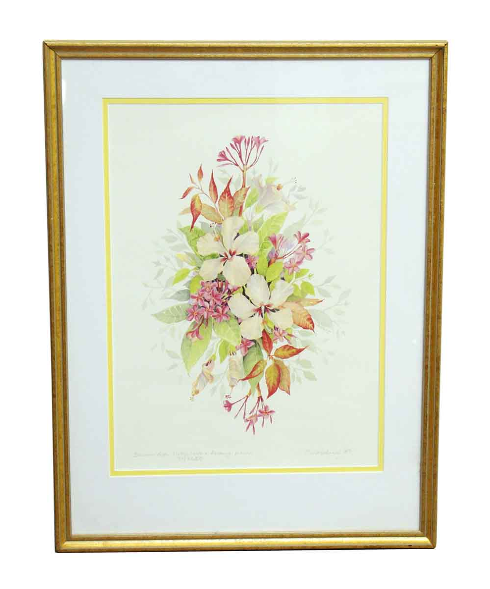 Pair Of Gold Framed Floral Prints Olde Good Things