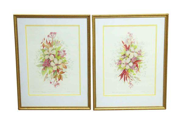 Pair of Gold Framed Floral Prints