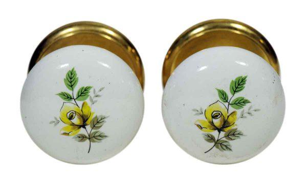 Pair of Yellow Floral Ceramic Gainsborough Knobs