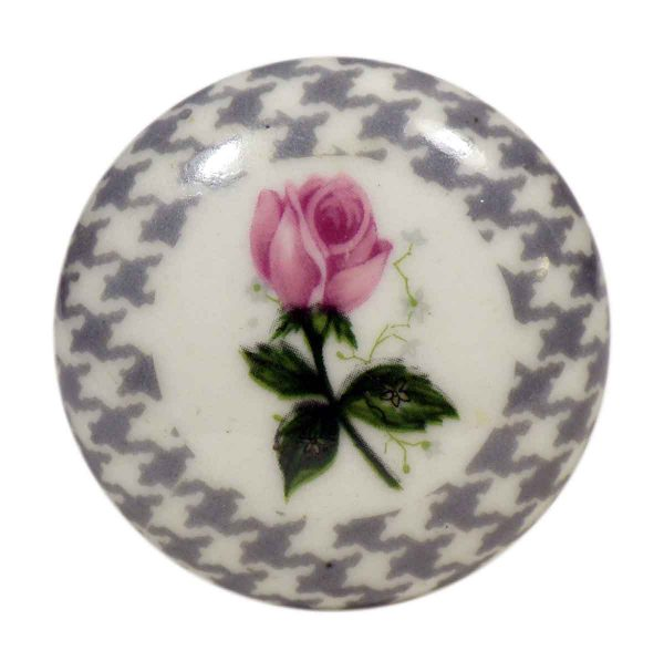 Small Single Floral & Handstooth Ceramic Knob