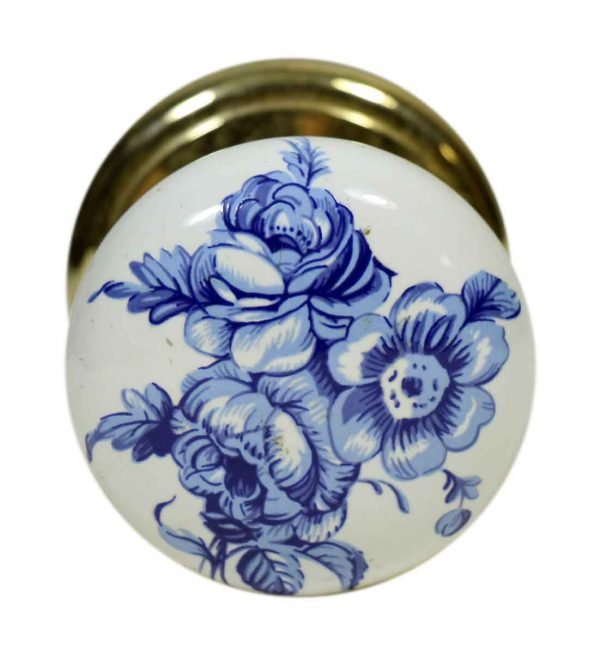 Single Blue Floral Gainsborough Ceramic Knob
