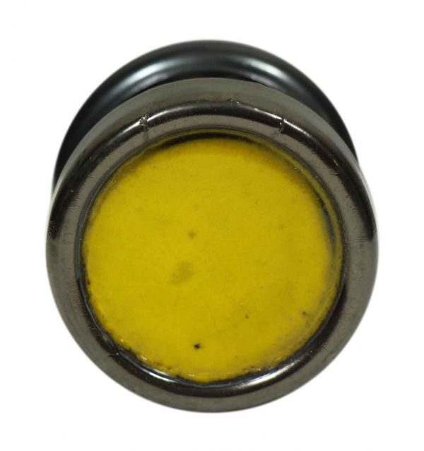 Single Gun Metal Doorknob with Yellow Enamel Center by Gainsborough