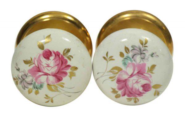 Pair of Vintage Floral & Leaf Ceramic Gainsborough Knobs
