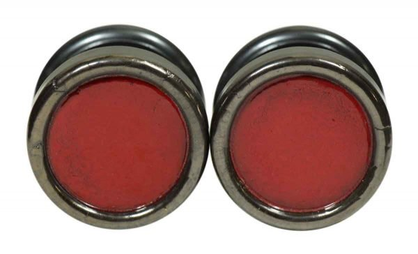 Pair of Red Enamel Gainsborough Door Knobs