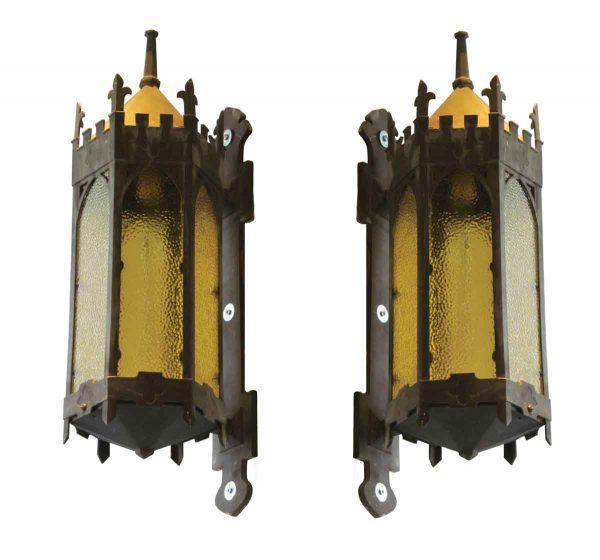 Pair of Gothic Bronze Exterior Sconces