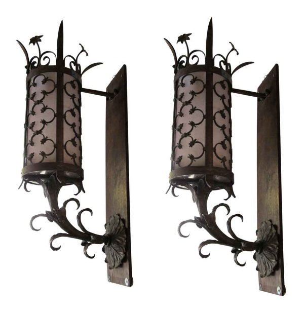 Pair of Bronze Exterior Sconces with Quatrefoil Leaf
