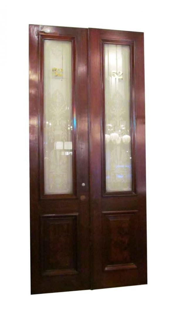 Pair of Walnut Doors with Etched Glass