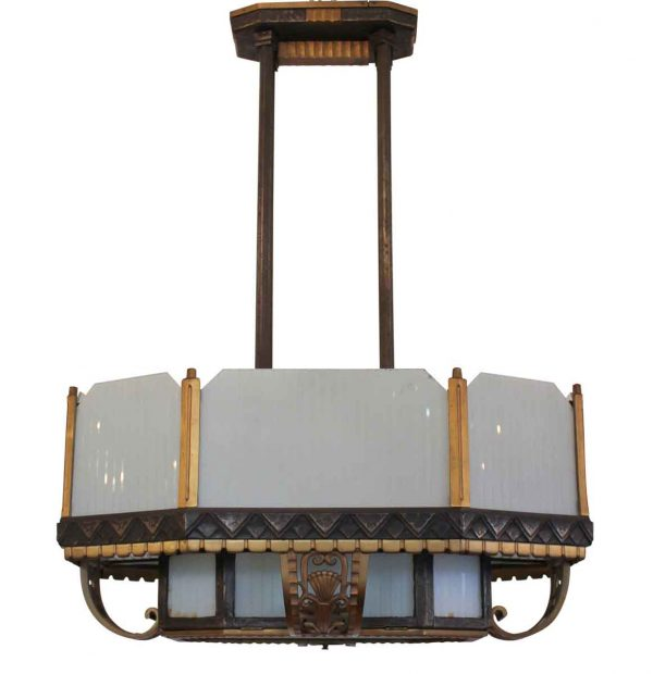 Bronze and Iron Art Deco Period Pendant Light