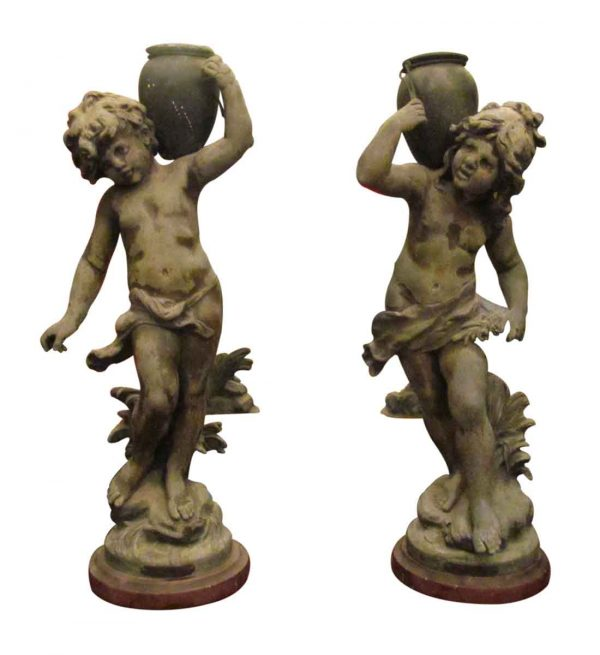 Pair of Pot Metal Water Jug Statues with Marble Base