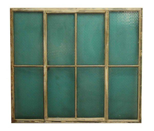 Vintage Blue Chicken Wire Glass Window