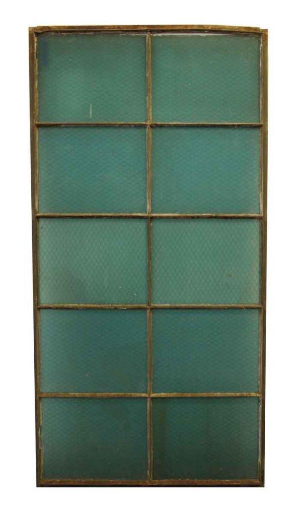 Vintage 10 Pane Blue Chicken Wire Glass Window