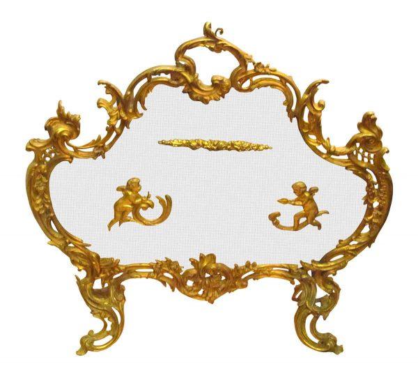 Gilted Bronze Cherub Fireplace Screen