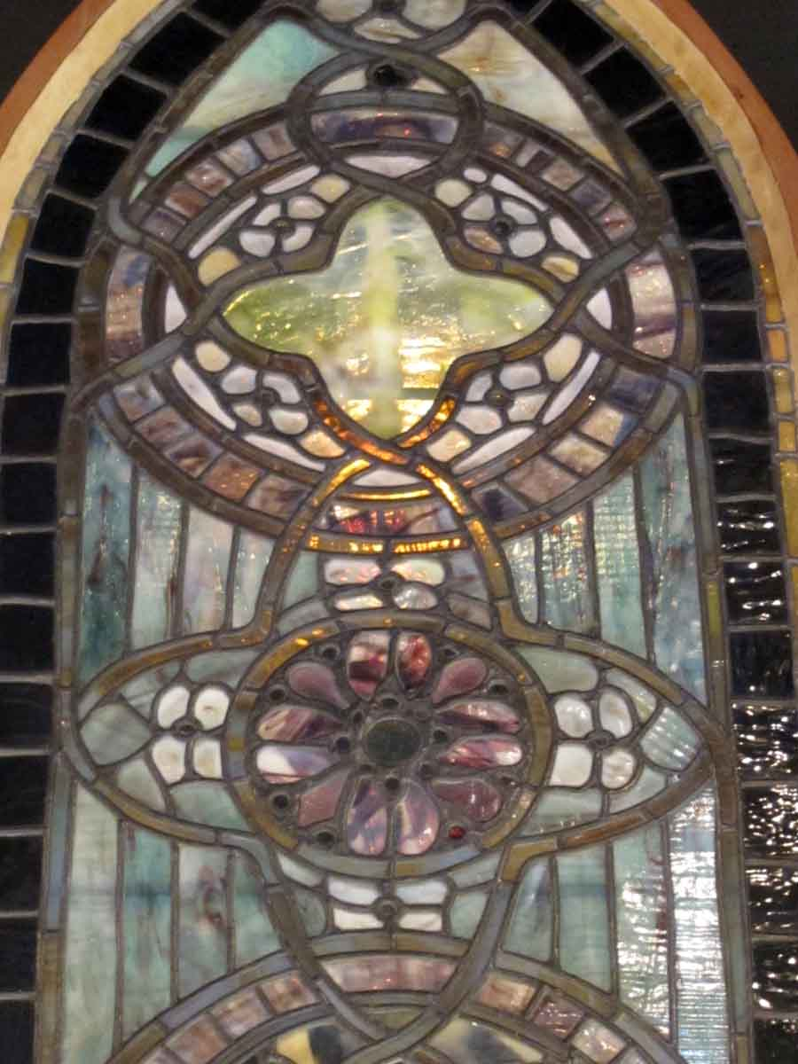 Original Tiffany Stained Glass Gothic Arched Window Olde