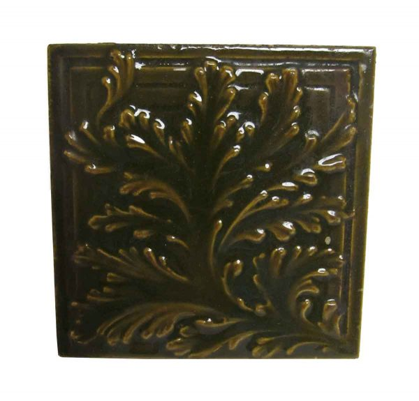 Brown Leaf Square Tile Set