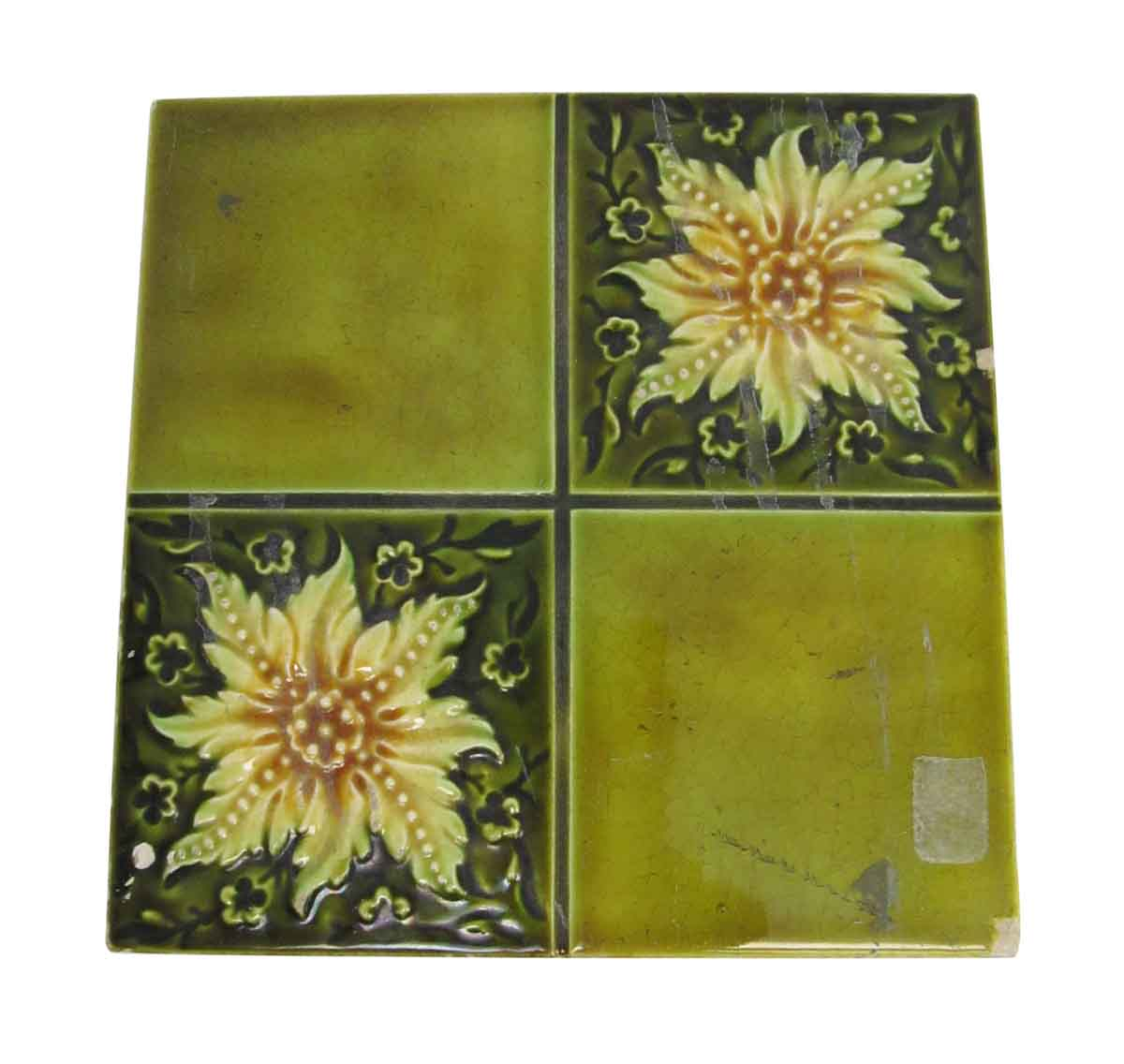Green Four Fold Floral Tile Olde Good Things