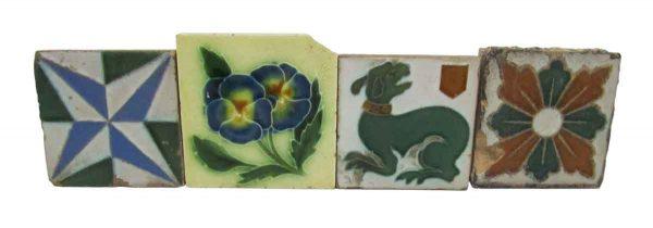 Four Decorative Different Square Tiles