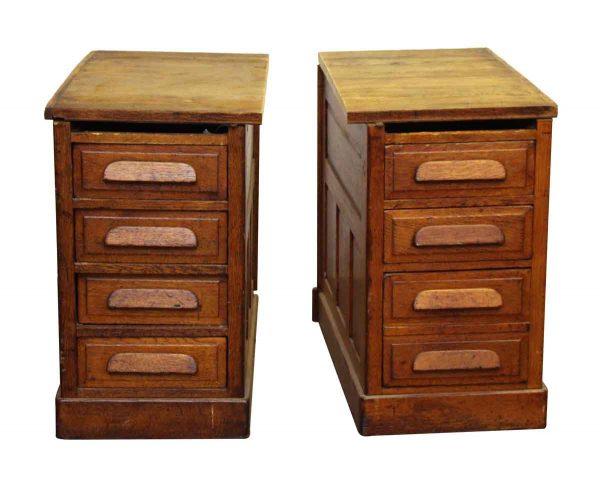 Set of Two Side Oak Cabinets