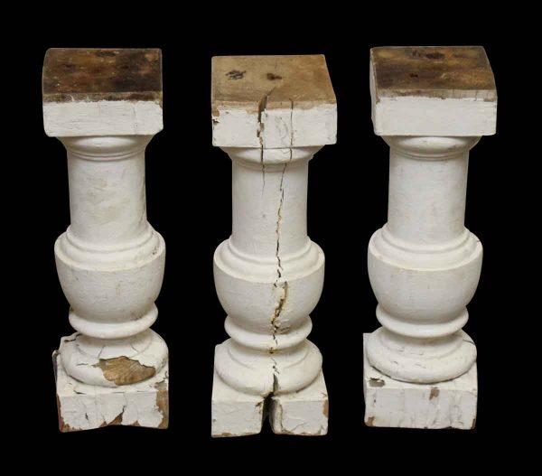 Set of Three White Pedestals