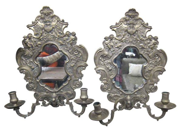 Ornate Bronze & Mirrored Candle Sconces