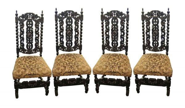 Set of Four Carved Wood Dining Chairs