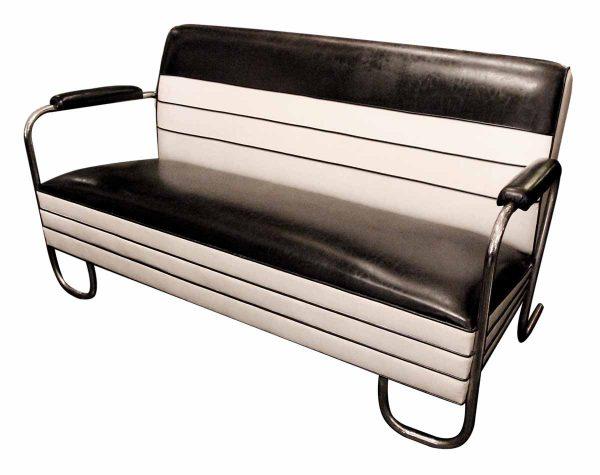 1980s Black & White Retro Deco Sofa With Chrome Legs