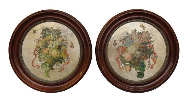 Pair of Floral Wood Framed Paintings