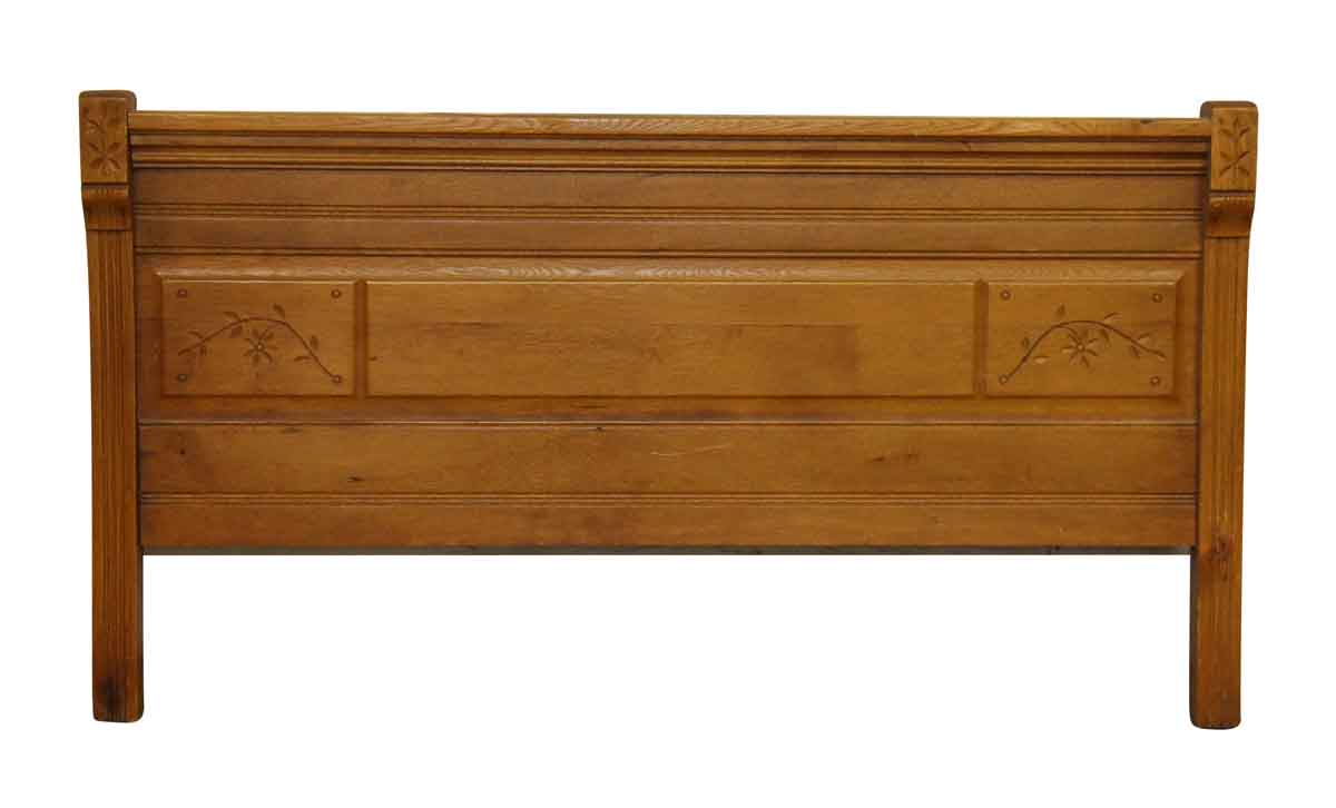 Carved antique american chestnut headboard bed frame for American furniture bed frames