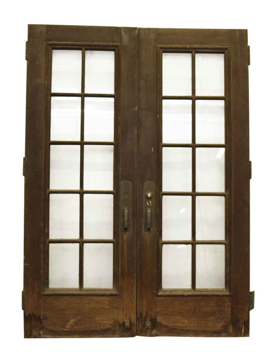 Double french doors with large bronze pulls kick plates olde good things for Interior double glass french doors