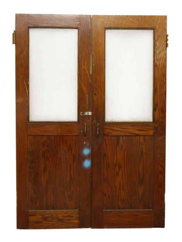 Half Vintage Sunburst Glass Oak Doors