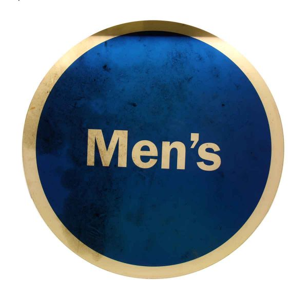 Round Blue & White Mens Sign