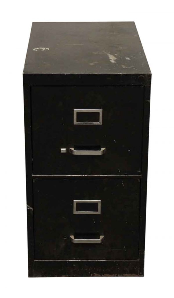 Two Drawer Metal Black Cabinet