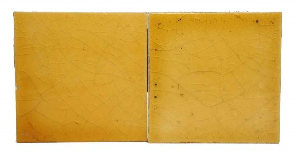 Pair of Nicely Crackled Yellow Tiles
