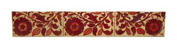 Set of Seven Red Floral Decorative Tiles