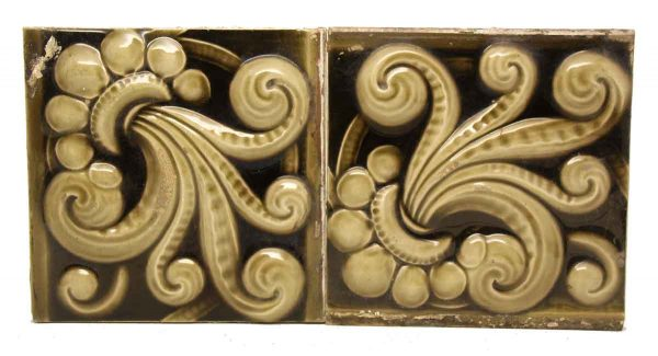 Pair of Green Swirl Decorative Tiles