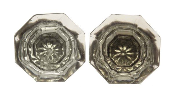 Pair of Small Glass Knobs with Floral Bullet