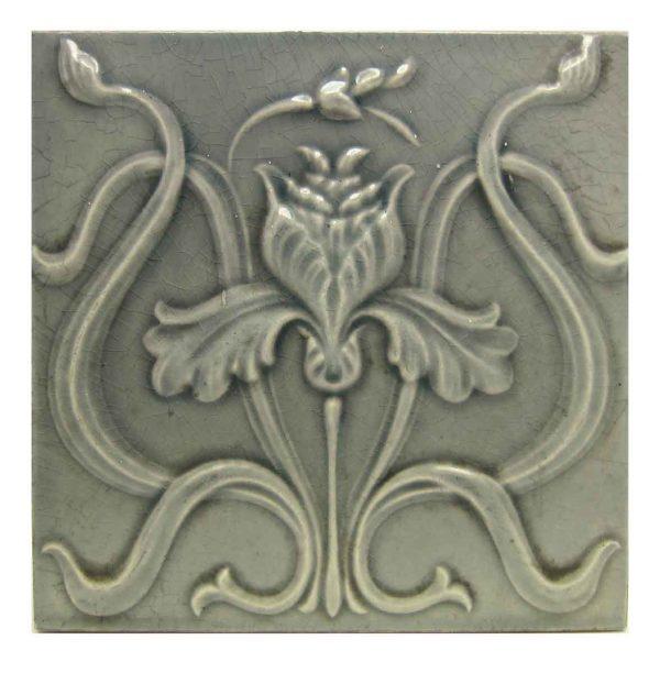 Gray Belgian Art Nouveau Tile Hasselt