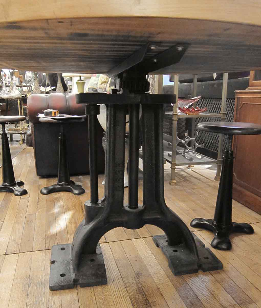 Butcher Block Kitchen Table Round : Refurbished Round Butcher Block Table with Heavy Cast Iron Base Olde Good Things